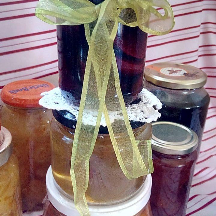 Jars of preserved fruit image
