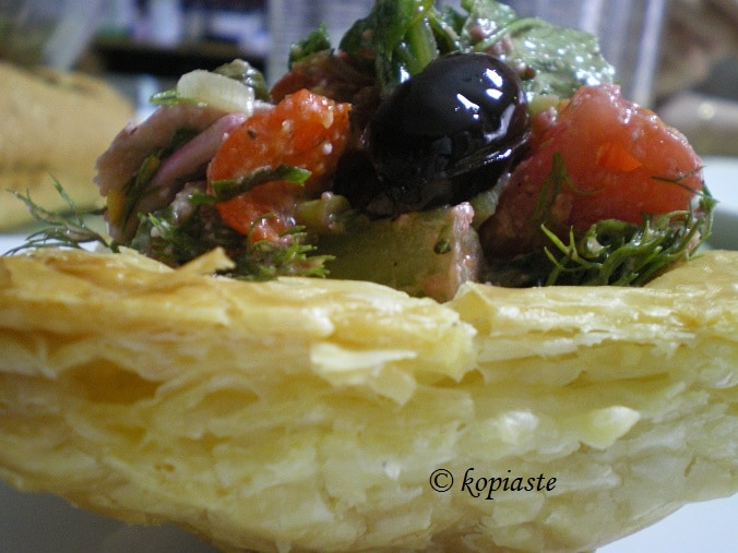 salad in puff pastry