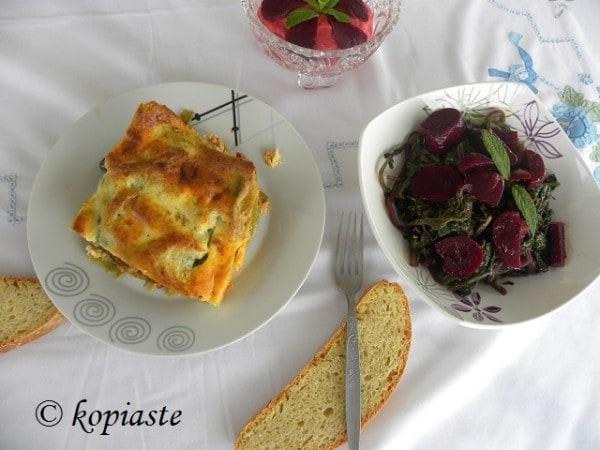 Sausage Lasagna and pantzarosalata