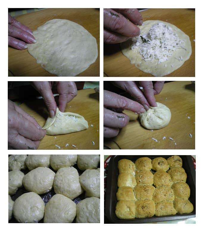 Κολαζ ψωμάκια κολλητά, γεμιστά με χαλούμι και γραβιέρα εικόνα