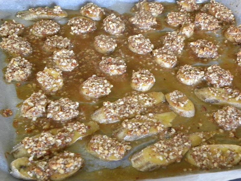 Καραμελωμένες μπανάνες με αμύγδαλο εικόνα