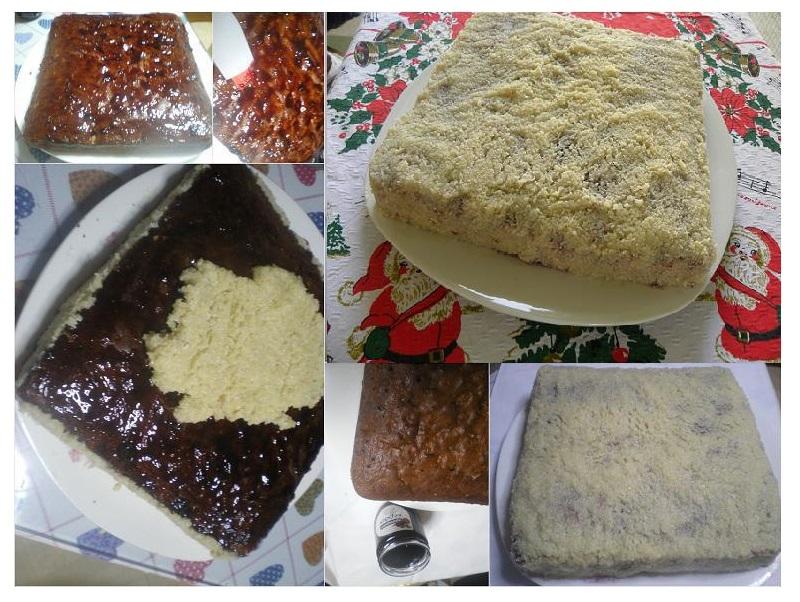 επικάλυψη με γλάσο αμυγδάλου στο Χριστουγεννιάτικο κέικ εικόνα