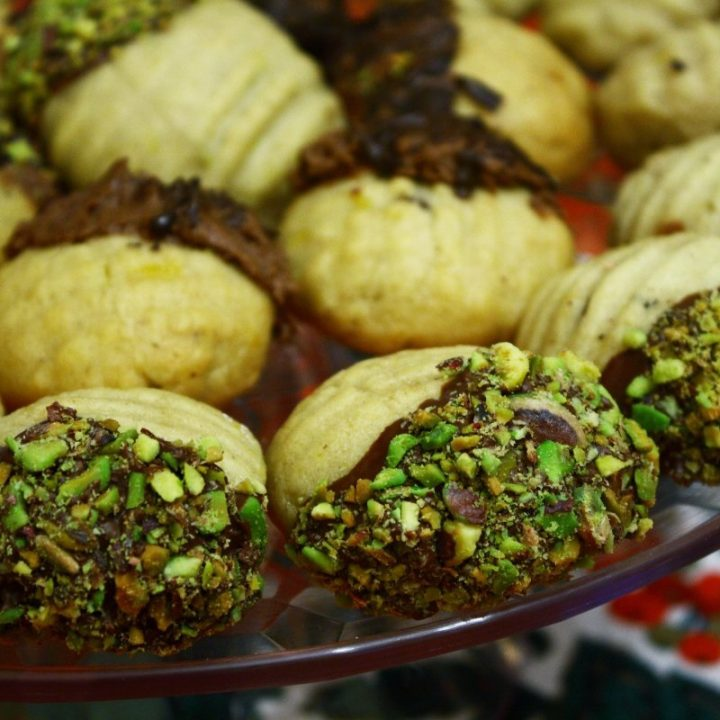 Melomakarona with Chocolate and pistachios image
