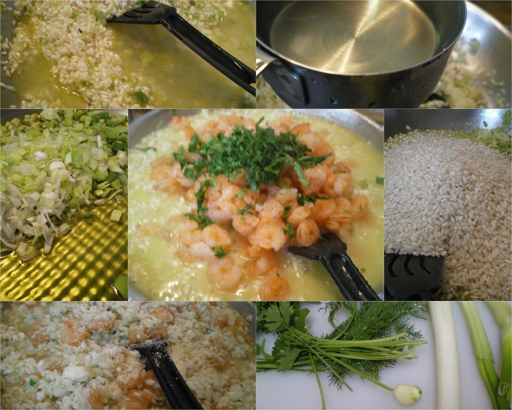 Κολάζ ριζότο με γαρίδες εικόνα