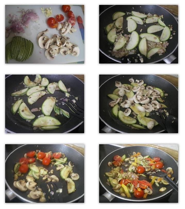 Κολάζ ετοιμασία ζυμαρικών με σοταρισμένα λαχανικά εικόνα
