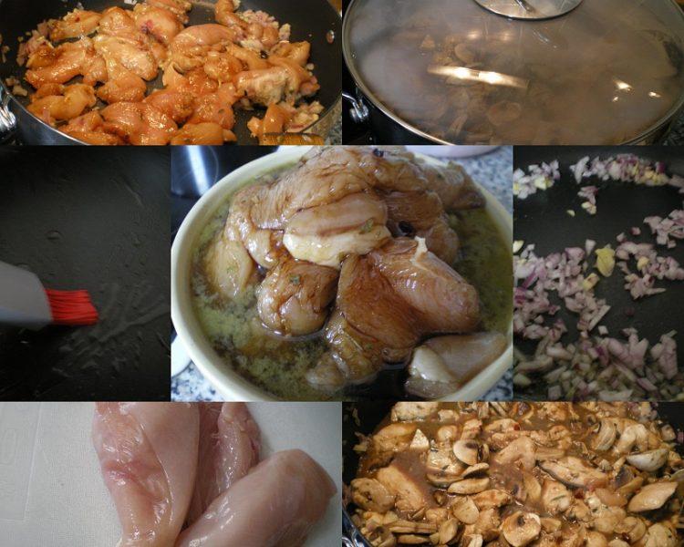 Κολάζ Κοτόπουλο Τεριάκι με Μανιτάρια