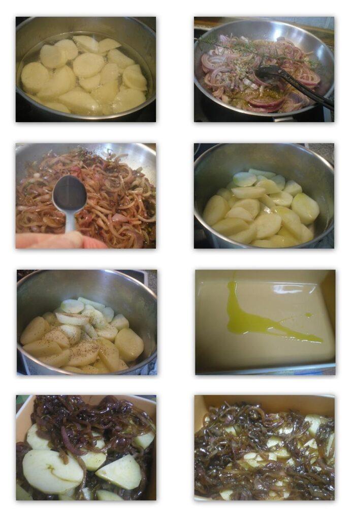 Κολάζ διαδικασία παρασκευής ατάτες Λυωνέζ αλά Ελληνικά φωτογραφία