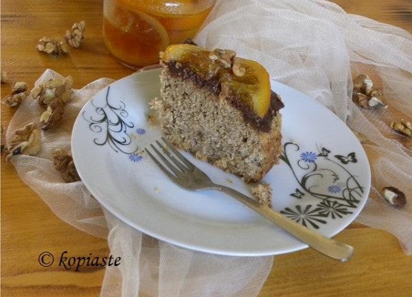 Karydopita with chocolate
