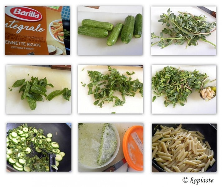 Collage Whole wheat penne with chutney