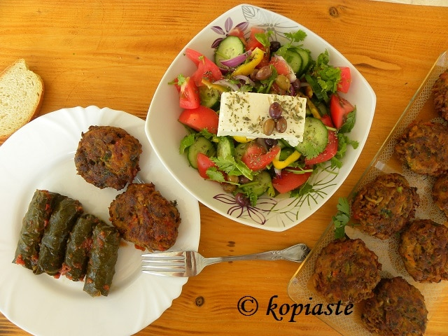 Dolmades salad and veggie burgers
