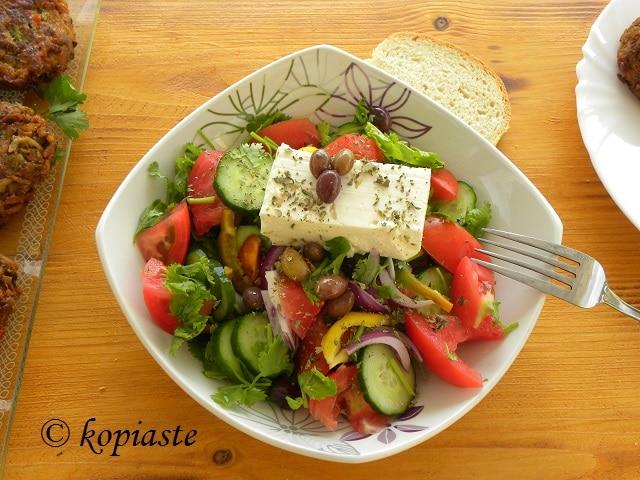 Greek salad with Coriander and buff