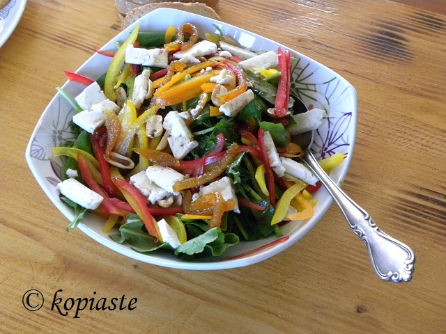 Rocket and Peppers Salad with Mandarin vinaigrette