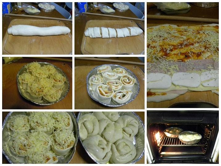 κολάζ φτιάχνοντας ρολάκια πίτσας