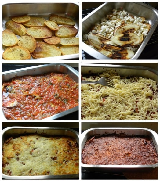 collage eggplants gratin