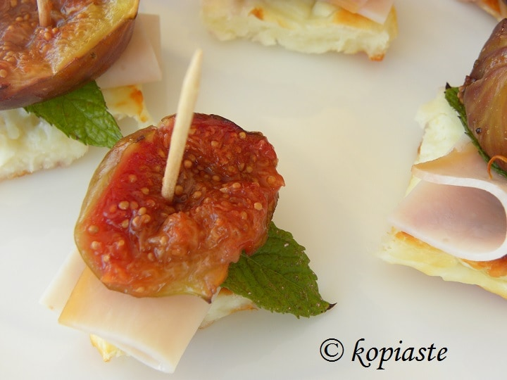 Fresh figs and halloumi appetizer