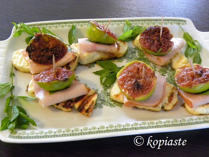 Grilled halloumi with figs