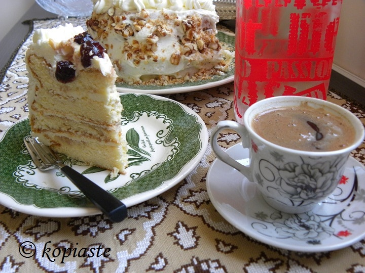 Cream Cheese Icing for birthday cake and greek coffee