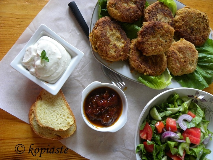 Chickpea Burgers with garlic sauce and chutney