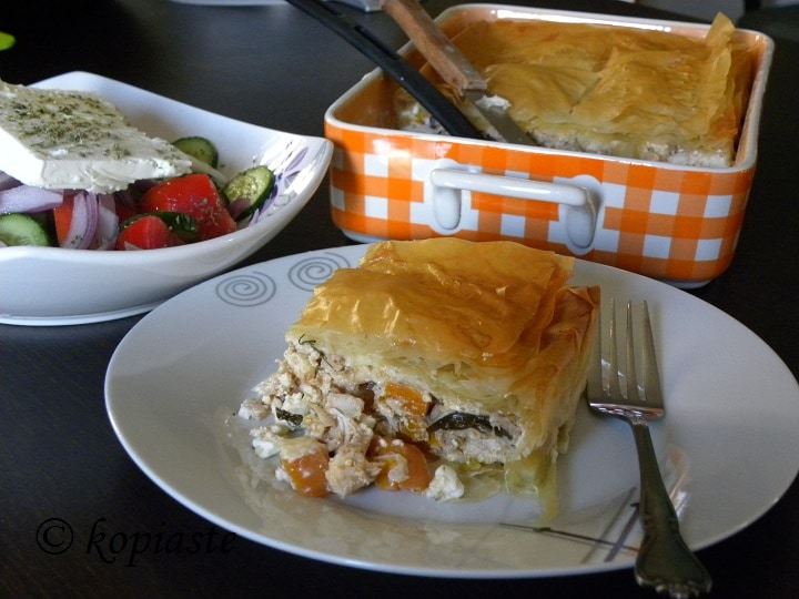 Kotopita chicken pie with leftovers