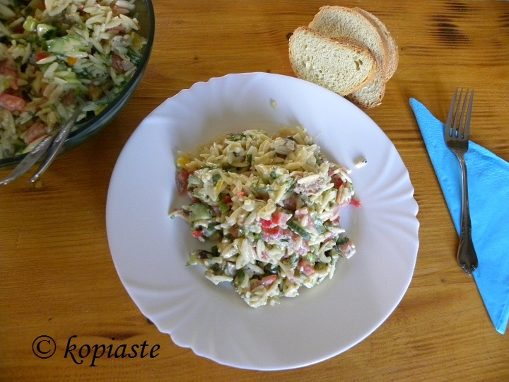 Orzo Kritharaki Salata with baked eggplants and tuna