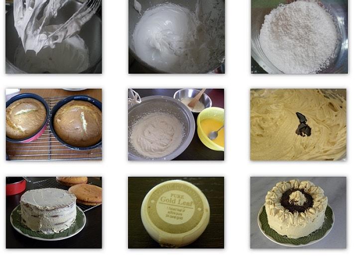 Κολάζ Κέικ Καφέ με Βουτυρόκρεμα Λευκής Σοκολάτας εικόνα