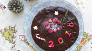 Σοκολατένιο Κέικ Αμυγδάλου και Βατόμουρου (Βασιλόπιτα)
