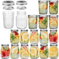 Glass Jars, 16 OZ Canning Jars With Lids and Bands, Ideal for Canning, Storing, Home Decor, 12 Pack Regular Mouth Mason Jars & 6 Pack Wide Mouth Mason Jars