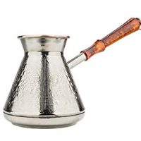 13.5 Oz./400 ml Thick Solid Copper Coffee Pot, Turkish Greek Arabic Coffee Cezve Ibrik Briki Turka with Wooden Handle, Authentic Copper Oriental Jezve, Grape, 1-Piece