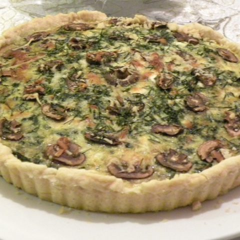 Spinach and mushroom Tart-after baking Picture
