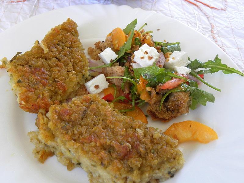 Fava and bulgur pie with dakos apricot salad image