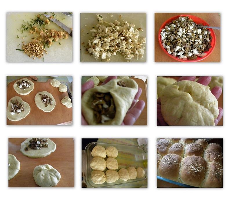 Κολάζ ψωμάκια με πράσινες ελιές και φέτα εικόνα