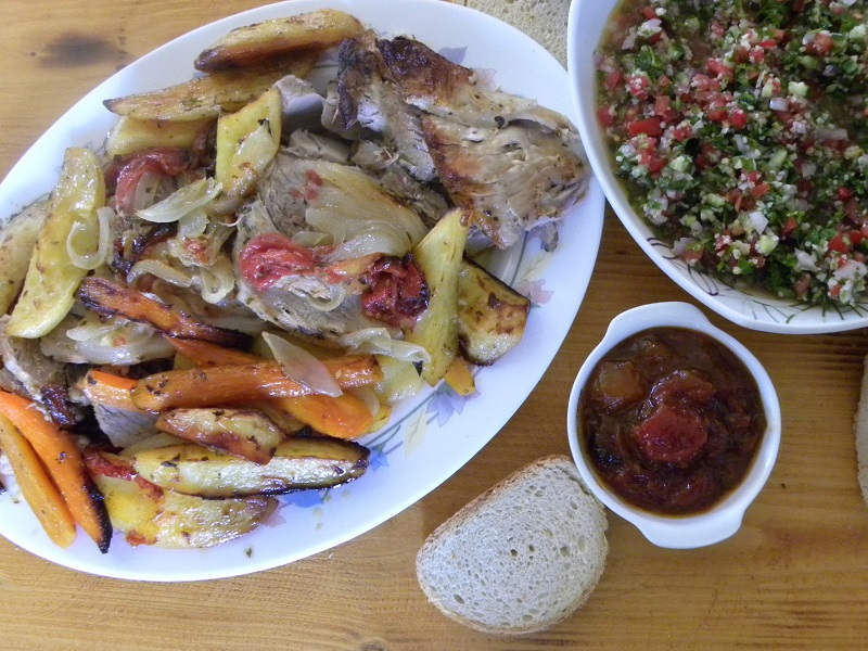 Pstio with tambouli tabbouleh and tomato chutney image