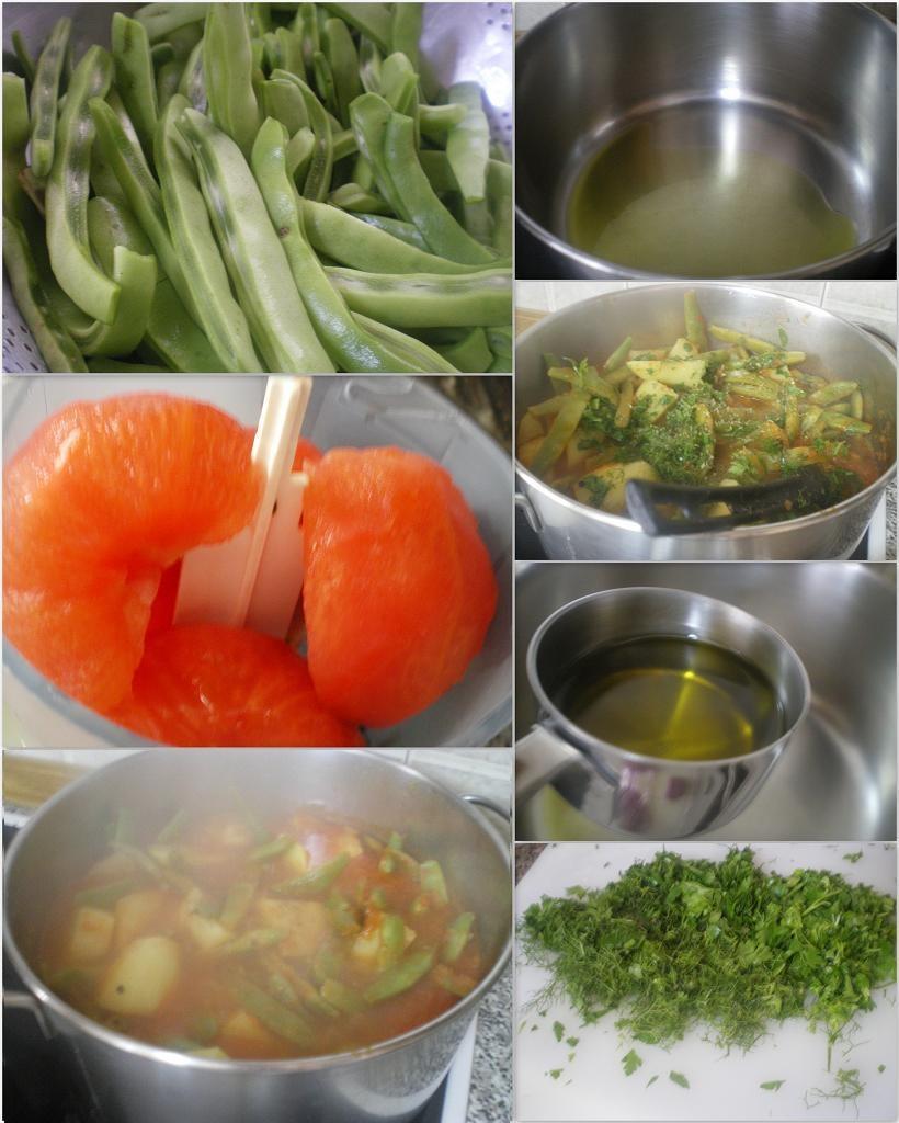 Κολάζ διαδικασία παρασκευής του φαγητού εικόνα