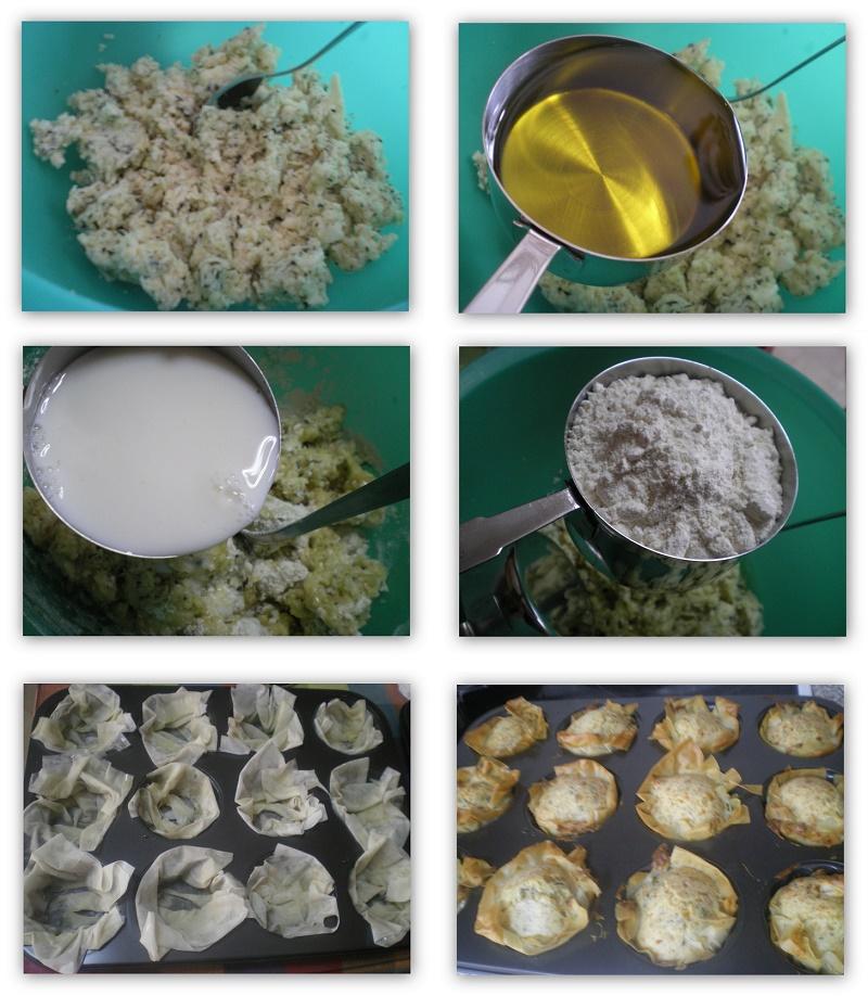 κολάζ ετοιμασία μάφινς με χαλλούμι εικόνα