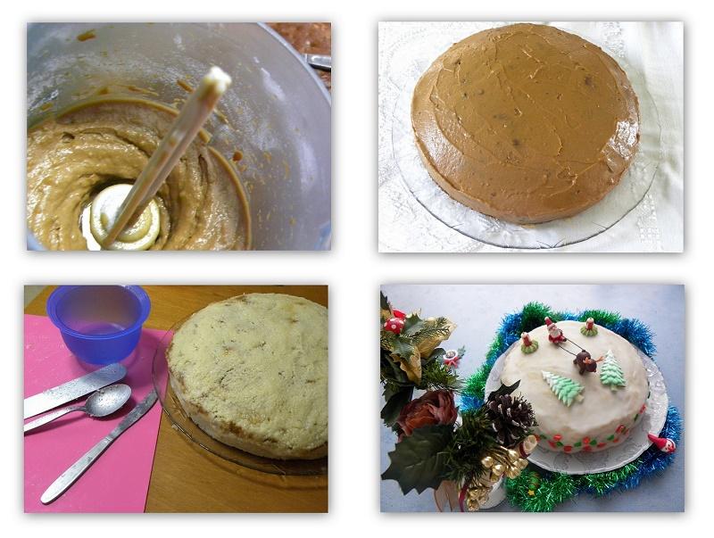 Κολάζ Χριστουγεννιάτικο Κέικ με επικάλυψη κάστανου εικόνα